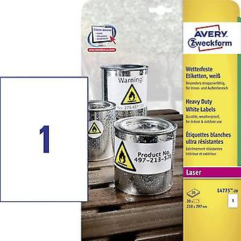 Avery-Zweckform L4775-20 Labels 210 x 297 mm Polyester film White 20 pc(s) Permanent All-purpose labels, Weatherproof labels