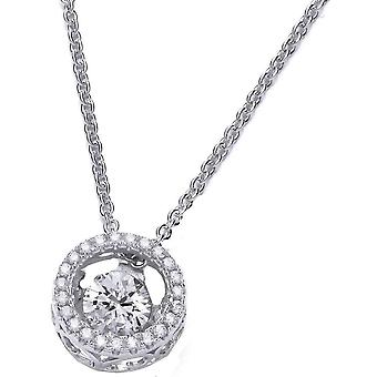 Cavendish French Dancing Stone Halo Necklace - Silver