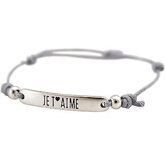 Gemshine - ladies - Bracciale - argento inciso - a T ´ AIMÉ - - grigio chiaro
