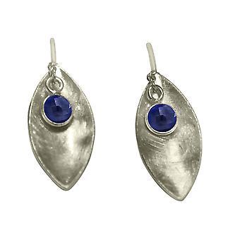 Gemshine - dames - oorringen - oorbellen - 925 Zilver - Marquise - minimalist - ontwerp - sapphire - blauw - 3 cm