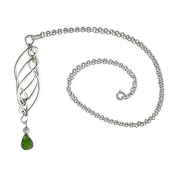 Ladies necklace tourmaline solid 925 Silver Green mobile trailers
