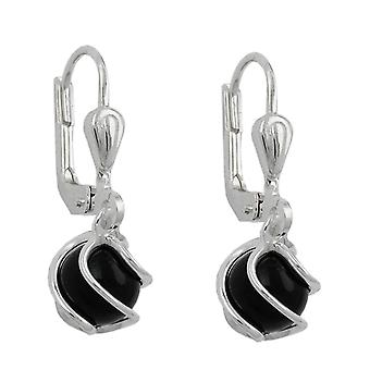 Brisur, with Onyx ball 6 mm, Silver 925 Silver Onyx earrings