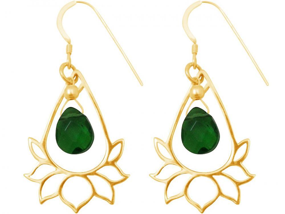 femmes - Ohrringe - Ohrhänger - 925 argent - Veroret - Lotus bleume - Mandala - Turmalin Quarz - Tropfen - vert - YOGA - 4 cm