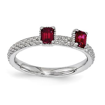 2.5mm Sterling Silver Polished Prong set Rhodium-plated Stackable Expressions Created Ruby Two Stone Ring - Ring Size: 5