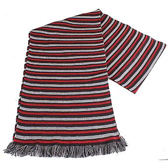 Bassin and Brown Lyons Horizontal Striped Scarf - Red/Grey/Black