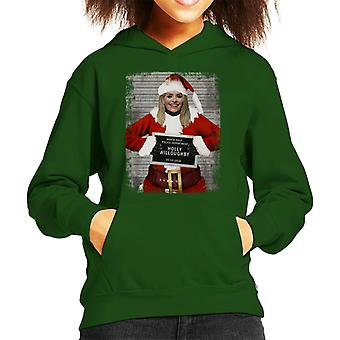 Christmas Mugshot Holly Willoughby Kid's Hooded Sweatshirt
