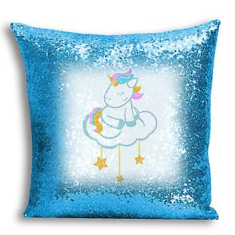 i-Tronixs - Unicorn Printed Design Blue Sequin Cushion / Pillow Cover with Inserted Pillow for Home Decor - 1