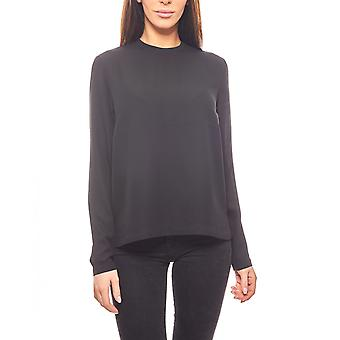 pieces loosely falling ladies chiffon blouse black