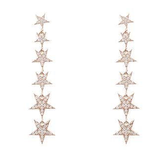 Latelita Long Stars Earrings Drop Stud Rose Gold Sterling Silver CZ Large White