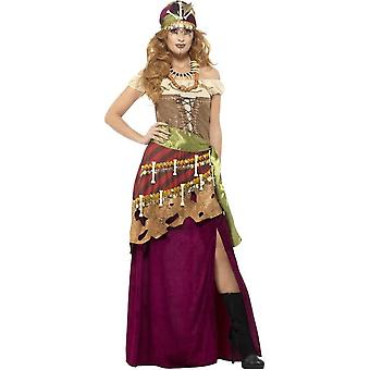 Deluxe Voodoo Priestess Costume, Multi-Coloured, with Dress, Sash, Hat & Necklaces