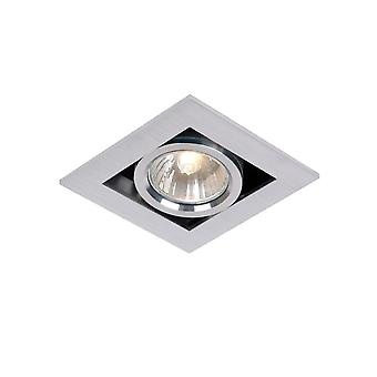 Lucide Chimney Modern Square Aluminum Satin Chrome Recessed Spot Light