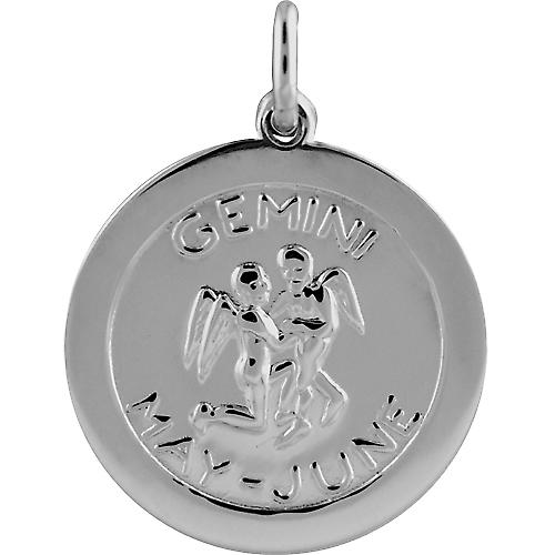 Silver 22mm round Zodiac Disc Pendant Gemini
