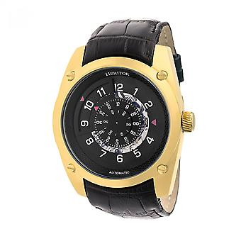 Heritor Automatic Daniels Semi-Skeleton Leather-Band Watch - Gold/Black
