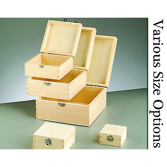 Square Lidded Wooden Boxes with Clasps to Decorate