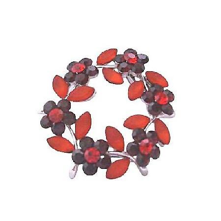 Round Dark Siam Red Crystals Flower Brooch with Enamel Red Leaves