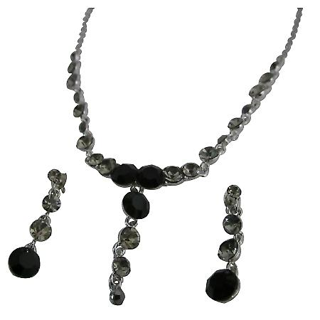 Vintage Necklace Artform Jet & Black diamondd Crystals Necklace Set
