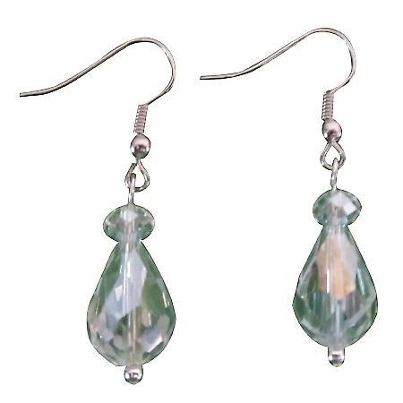 Girls Birthday Return Gift AB Concaved Faceted Crystal Earrings