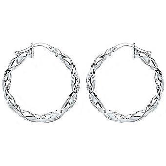 Bella 20mm Twisted Hoop Earrings - Silver