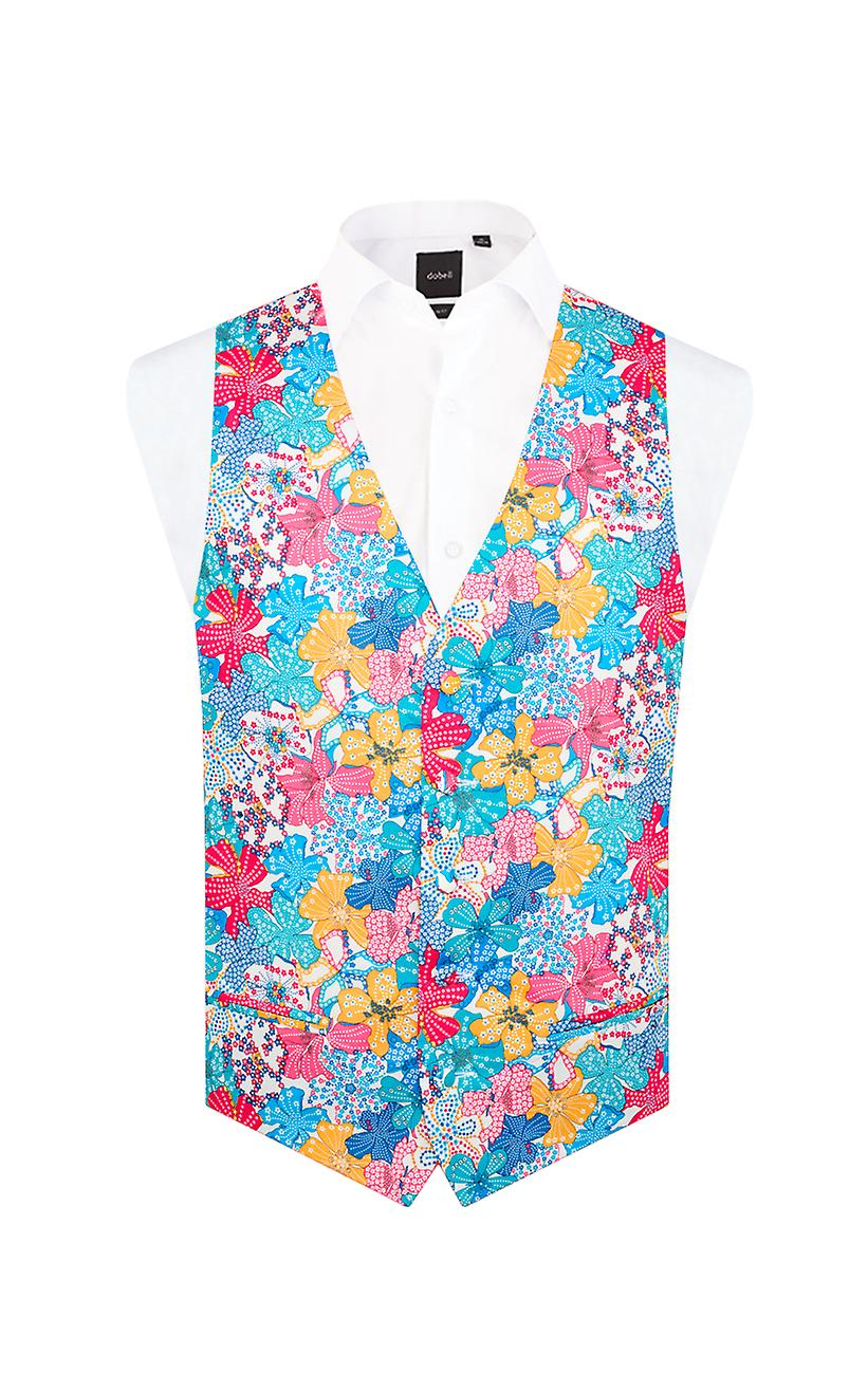 Liberty Mens 'Mauvey' Brightly Coloured Floral Waistcoat Regular Fit 100% Cotton