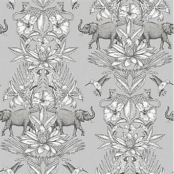 Koloniale olifant bos Animal Print bloemenbehang grijs zilver vogel Rasch