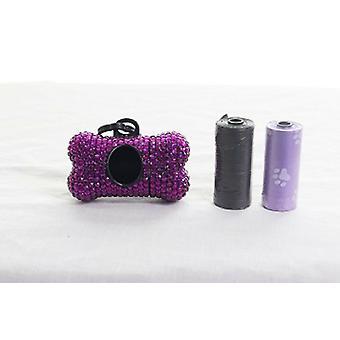 Hueso de Rhinestone de cristal púrpura oscuro con forma de dispensador de bolsa de residuos