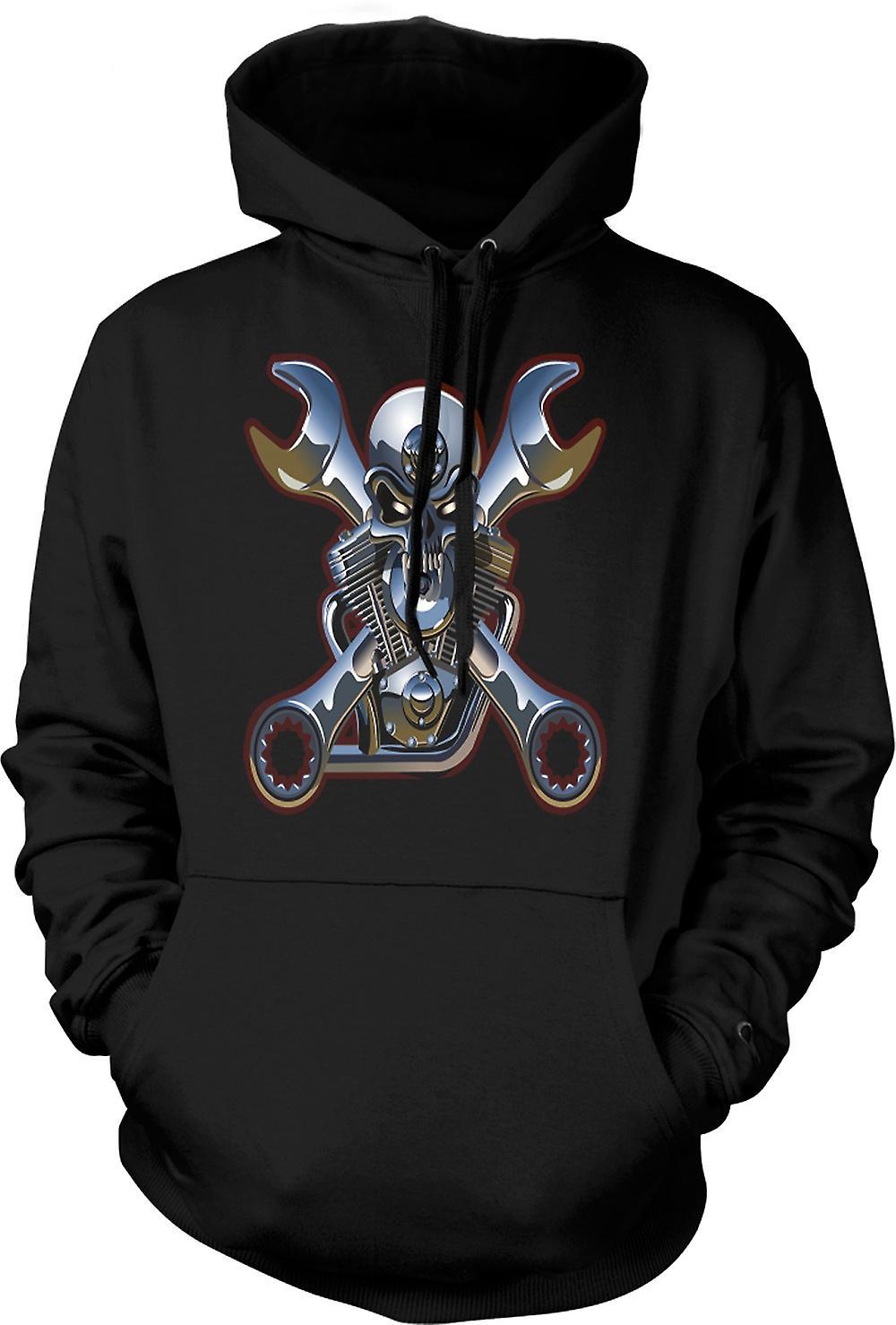 Mens Hoodie - Biker Engine Mechanic