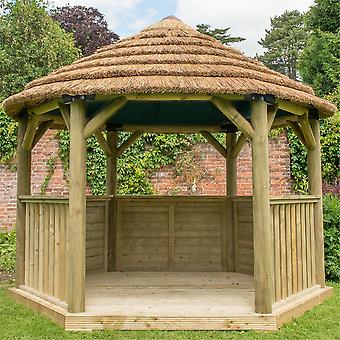 Forest Garden 3.6m Hexagonal Wooden Pressure Treated Garden Gazebo with Thatched Roof and Cream Lining