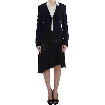 Exte Black Blue Two Piece Suit Skirt & Blazer -- SIG3612848