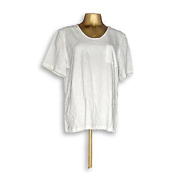 Denim & Co. Women's Top Essentials Textured Knit White A304435