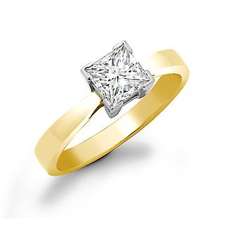 Jewelco London Ladies Solid 18ct Yellow Gold L-Shape 4 Claw Set Princess G SI1 1ct Diamond Solitaire Engagement Ring