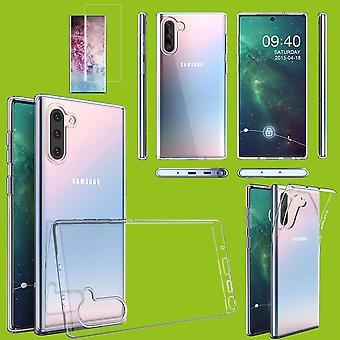 Für Samsung Galaxy Note 10 N970F Silikoncase TPU Transparent + 0,3 4D Full Curved H9 Glas Transparent Tasche Hülle Schutz Cover