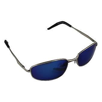 Sonnenbrille Sport Rechteck polarisierendes Glas Silber blau frei BrillenkokerS306_5