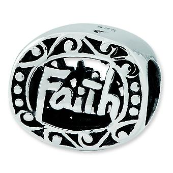 Sterling Silver Antique finish Reflections Faith Bead Charm