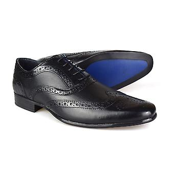 Red Tape Carn 2 Black Leather Men's Brogue Dress Shoes