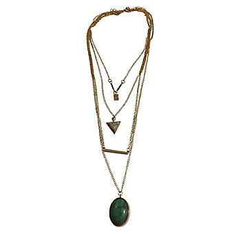 Long minimalist statement necklace with turquoise stone