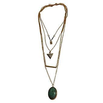 Collar largo minimalista declaración con piedra turquesa