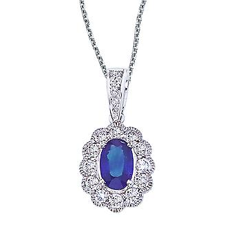 14k White Gold Sapphire and Diamond Oval Pendant with 18