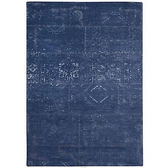 Distressed Windsor Blue Tribal Flatweave Rug 80 x 150 - Louis De Poortere