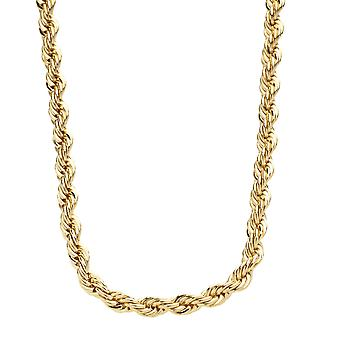 Iced out bling hip hop rope cord chain - 4 mm - gold - 77 cm