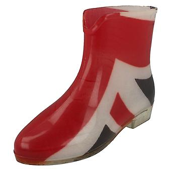 Womens Spot On Union Jack Ankle Wellington Boots