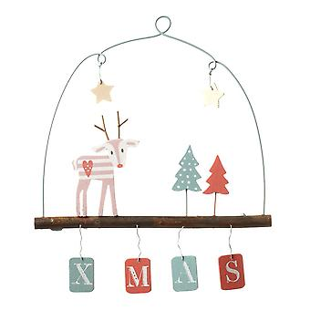 Wooden Hanging Xmas Décor Pastel Reindeer With Hanging Letters 'XMAS'