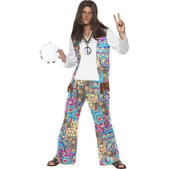 Chic hippy costume top with attached vest, pants and headband