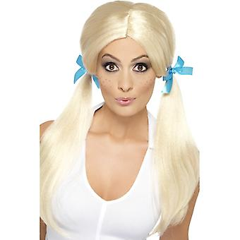Cheeky schoolgirl wig with plaits blond with tape loops