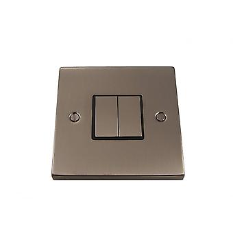 Causeway 2 Gang Ingot Light Switch, Satin Chrome