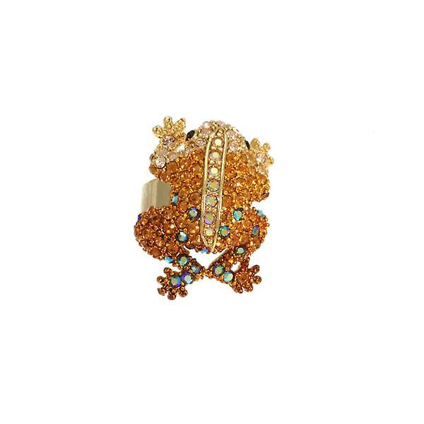 W.A.T Sparkling Gold And Topaz Swarovksi Crystal Frog Ring