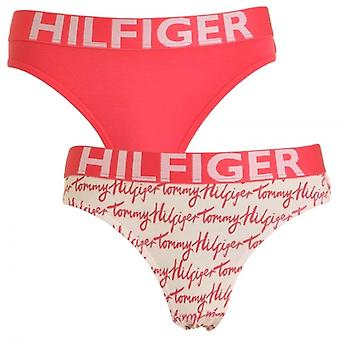 Tommy Hilfiger Girls 2 Pack Bold Bikini Brief, Rouge Red / Logo Print, Medium