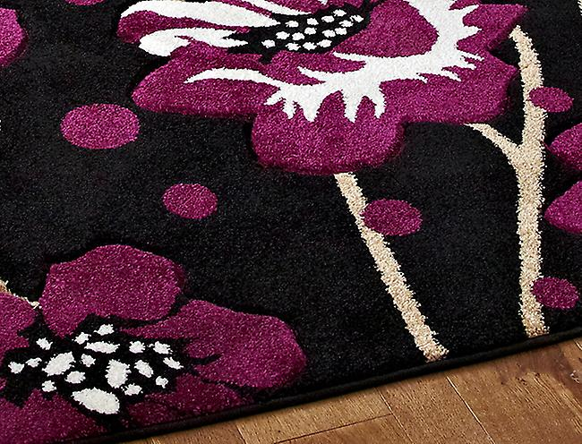 Vérone 216 noir-violet Black & Violet Rectangle Tapis Tapis modernes
