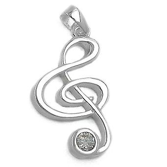 Pendant silver pendant clef single earrings cubic zirconia 925 Silver