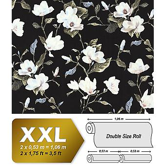 Flowers wallpaper EDEM 9000-29 non-woven wallpaper characterized in the romantic design matt black creamy white beige green 10.65 m2
