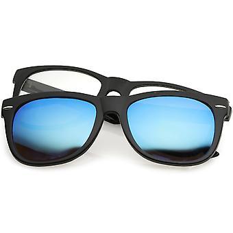 Prémio magnético com clip chifre margeadas óculos escuros espelhados e  lente Clear Praça 53mm 9fb2f29b7d